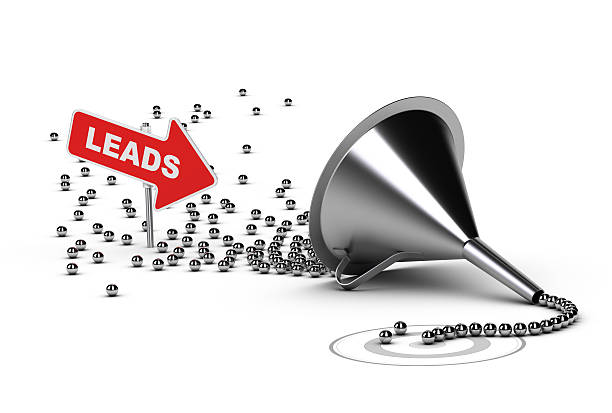 3d funnel with chrome ball sales leads - sales funnel stock photos and pictures