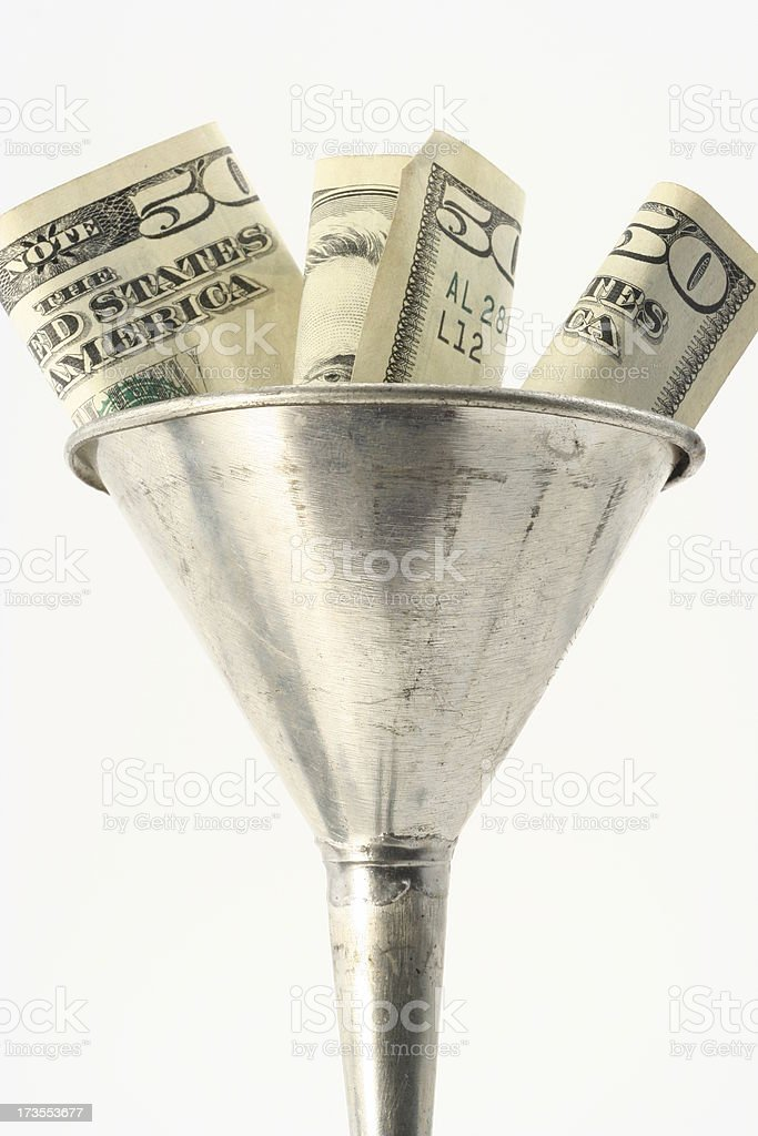 Funneling Currency stock photo