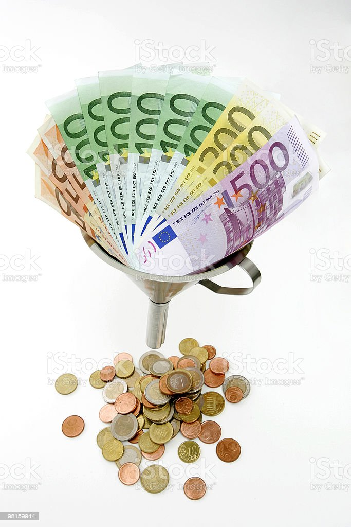Funneling currency royalty-free stock photo