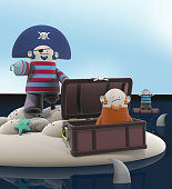 Funny 3D Cartoon Pirates stranded on an Island