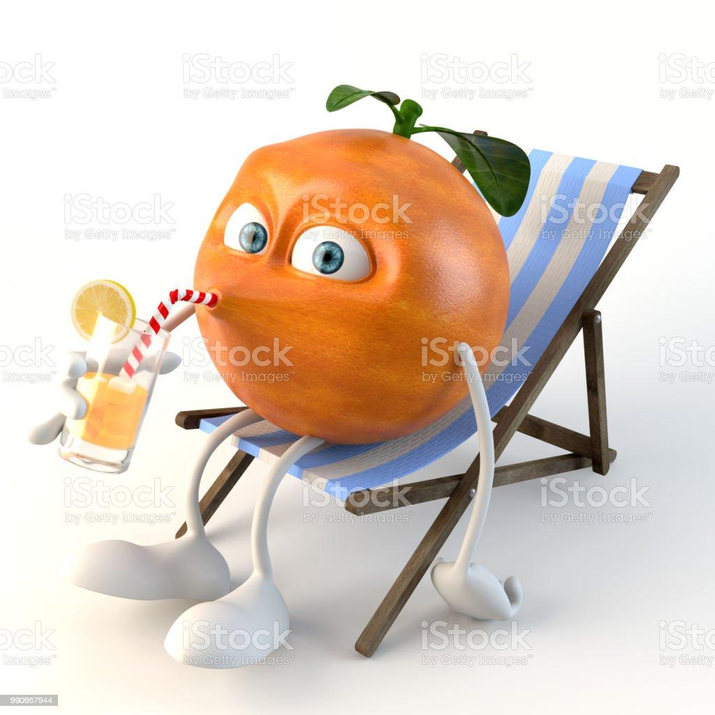 lustige 3d Obst Charakter trinken auf Liegestuhl Lizenzfreies stock-foto