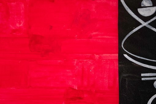 Funny abstract red composition and white lines hand drown on black background. Perfect for Christmas, parties and celebrations