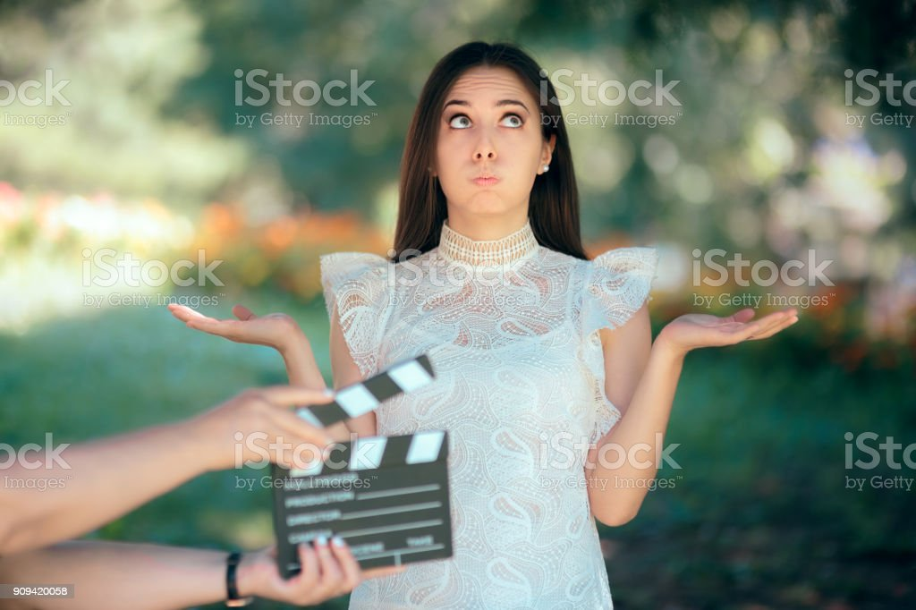 Funny Actress Auditioning for Movie Film Video Casting stock photo