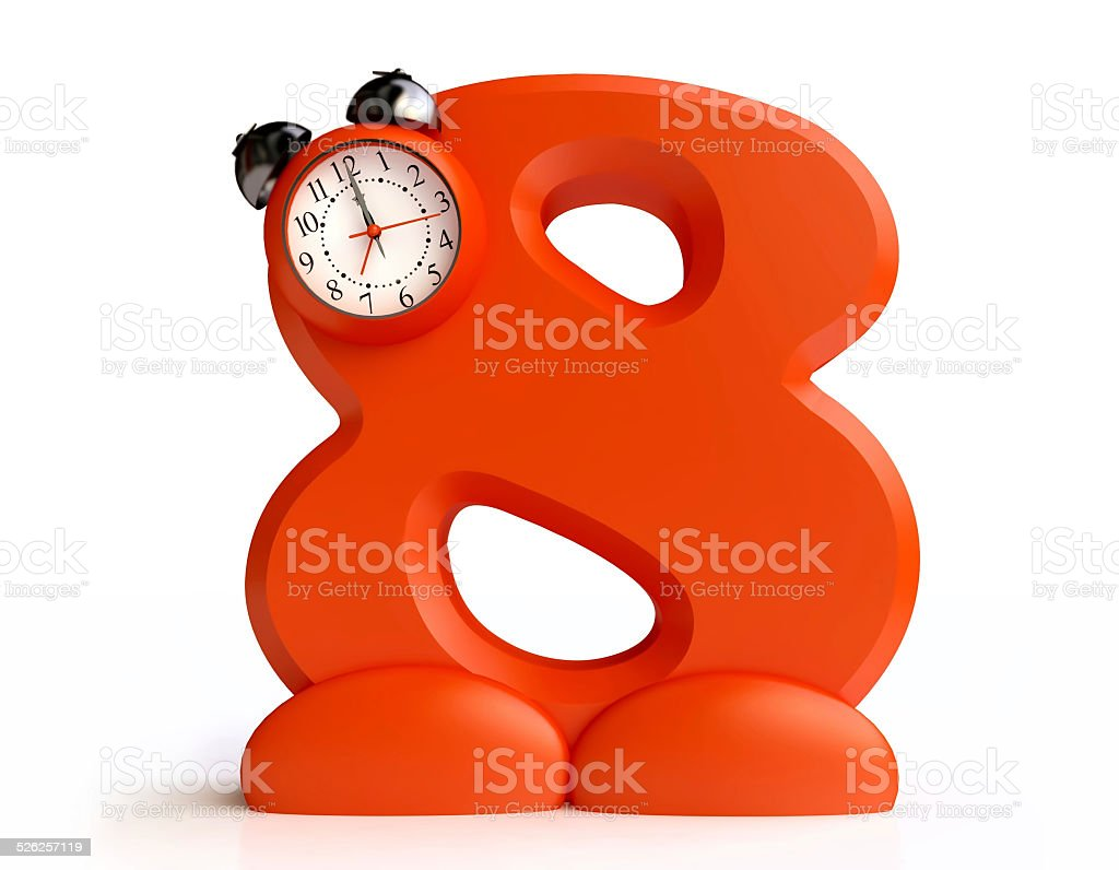 Funny Alarm Clock in form of Number Eight stock photo