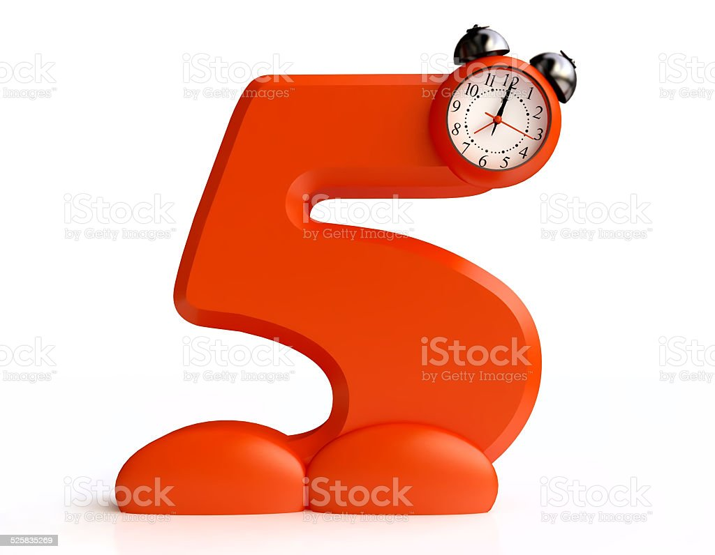 Funny Alarm Clock in form of Number Five stock photo