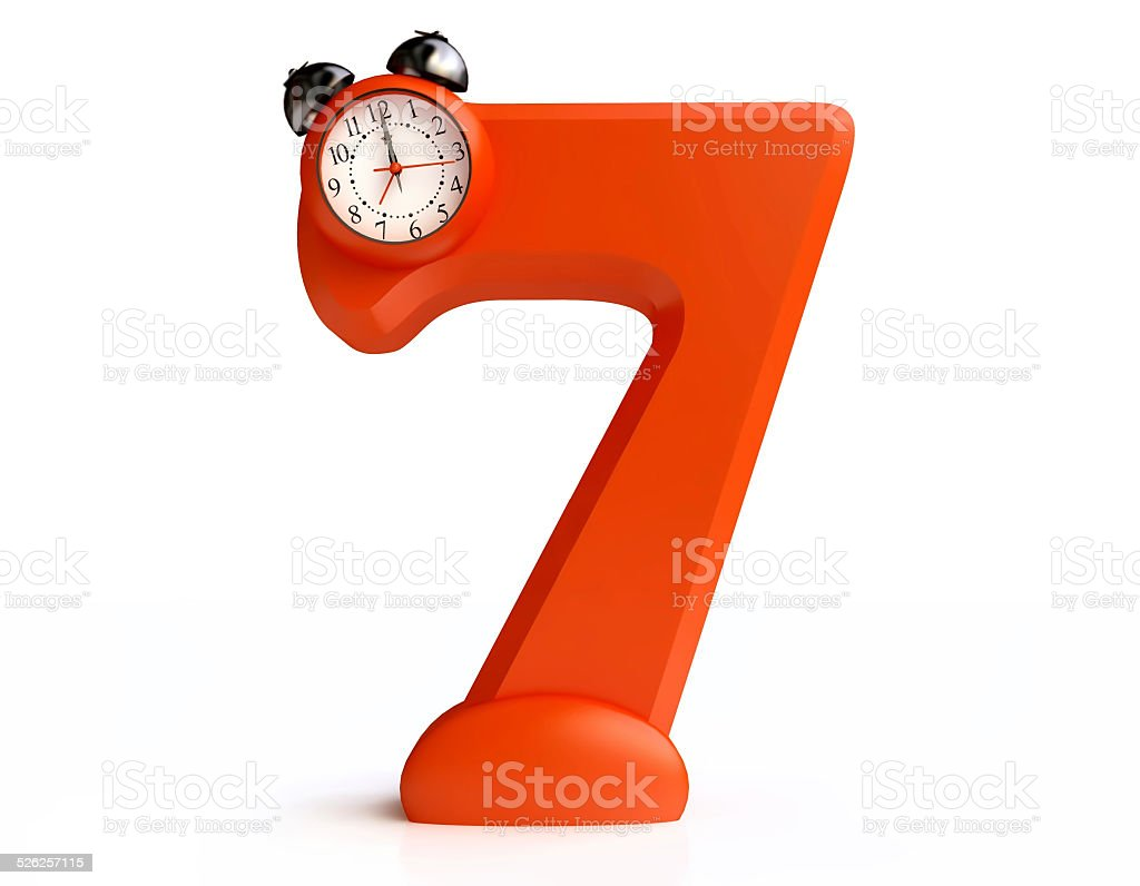 Funny Alarm Clock in form of Number Seven stock photo