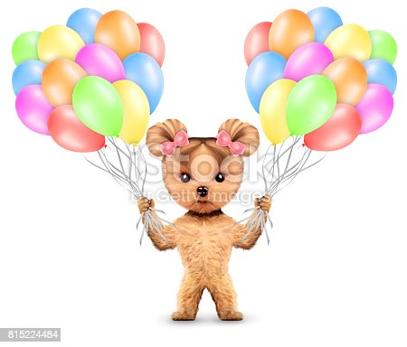 815229514 istock photo Funny animal keep a bunch of balloons 815224484