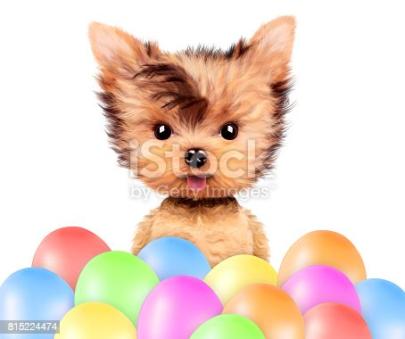 815229514 istock photo Funny animal surrounded by ballloons 815224474