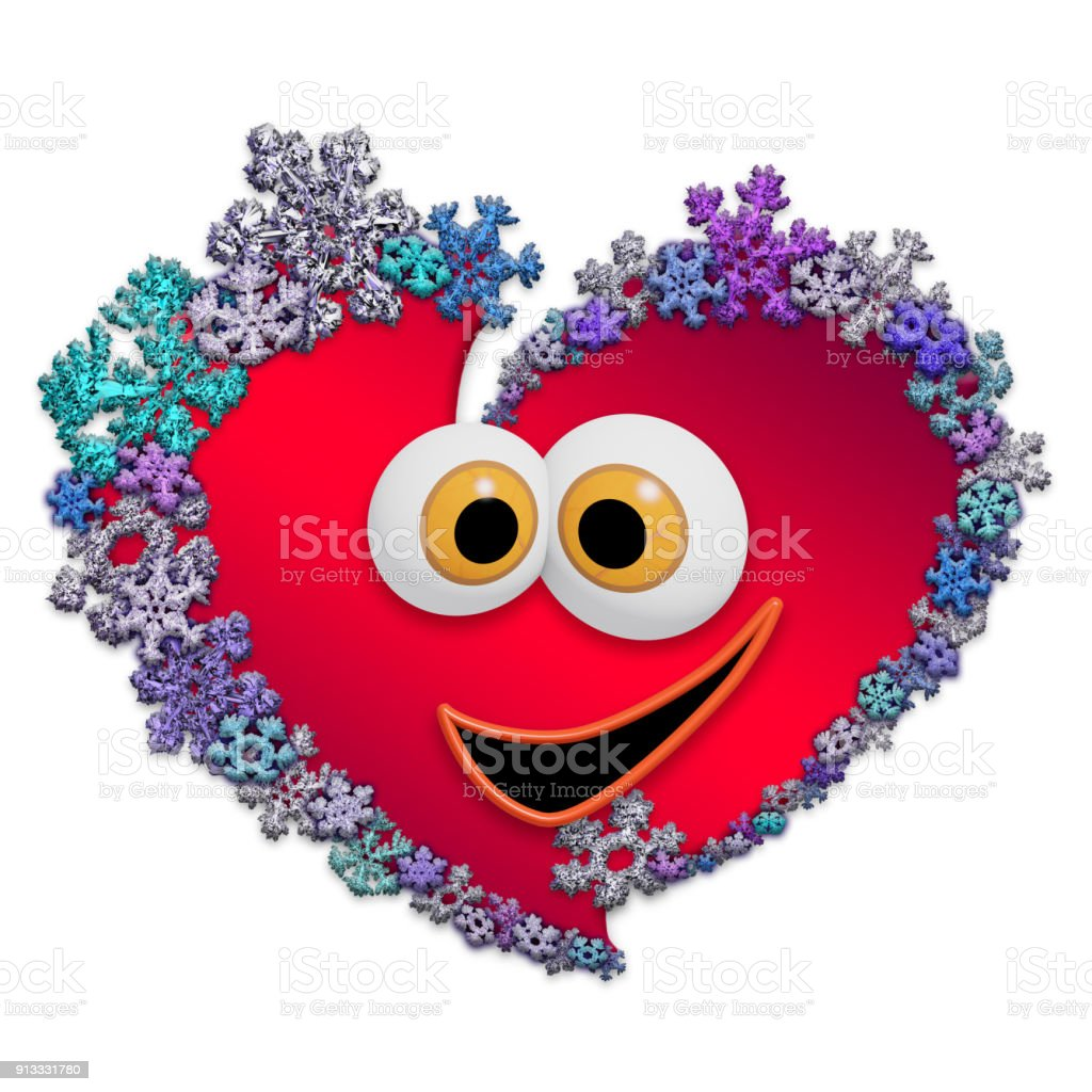 Funny Animated Heart Made Of Snowflakes Stock Photo More Pictures