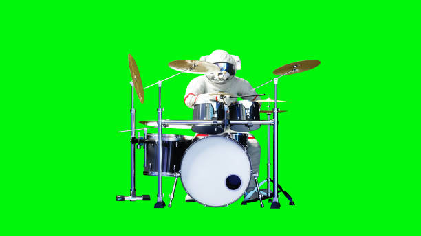 Funny astronaut play to drums . Green screen. 3d rendering. stock photo