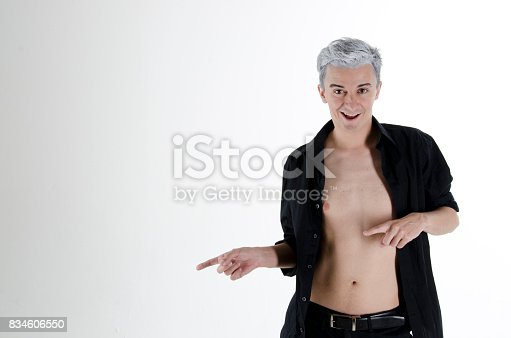 661896674 istock photo Funny attractive guy with gray hair. 834606550