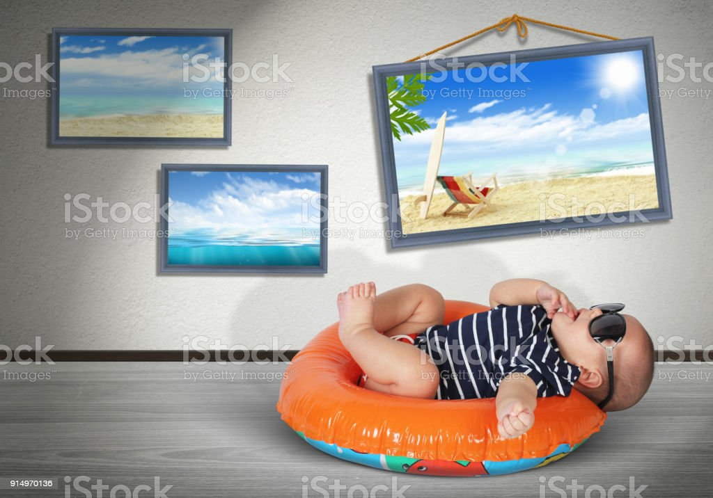 Funny Baby On Swimming Circle At Home As On The Beach Vacation Concept Stock Photo Download Image Now Istock