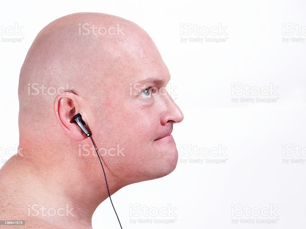 Funny Bald Man Listening Music Stock Photo Download Image