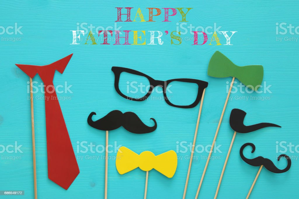 funny beard, glasses, mustache, tie and bow. Father's day concept royalty-free stock photo