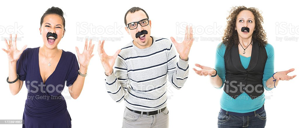 funny bizzarre facial expression of people with mustache royalty-free stock photo