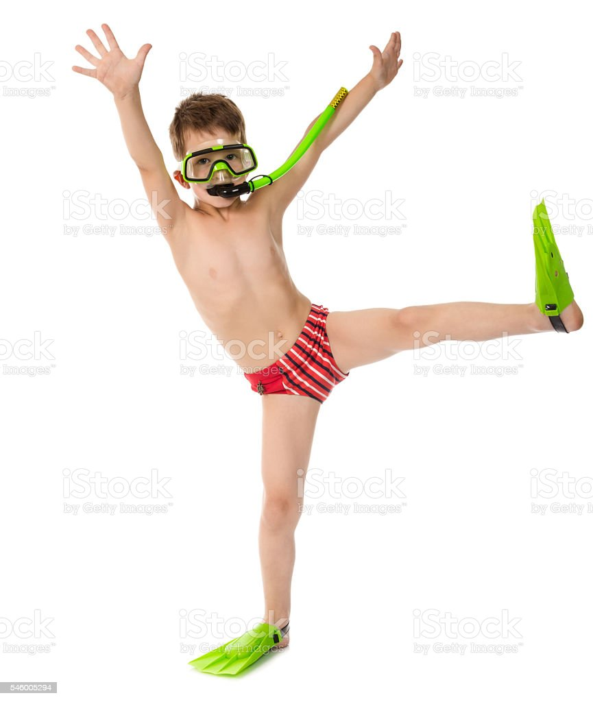 Funny boy in diving mask and flippers stock photo