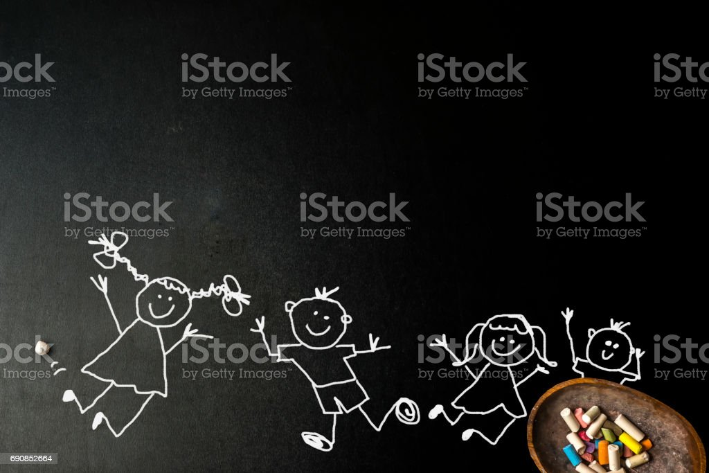 Funny boys and girls stickman card stock photo