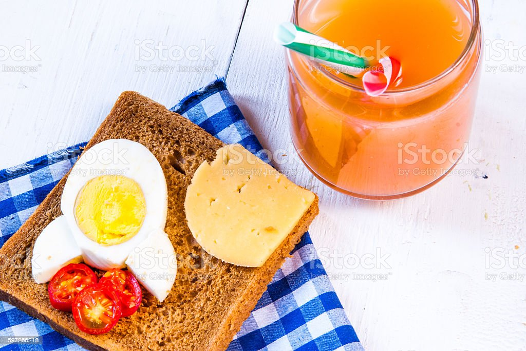 Funny breakfast for kid Lizenzfreies stock-foto