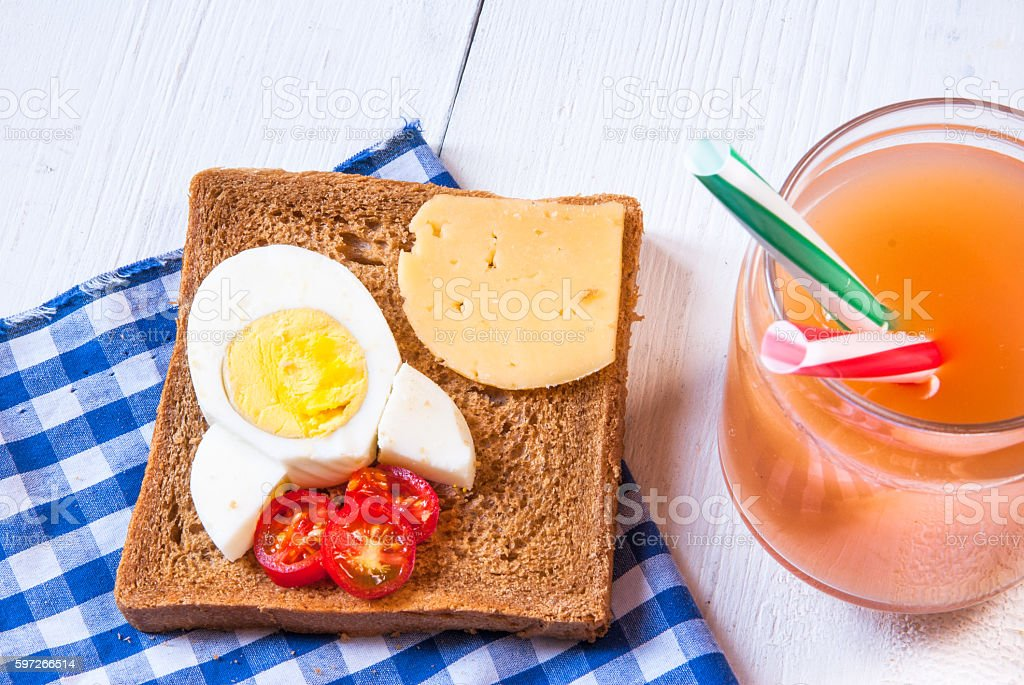 Funny breakfast for kid photo libre de droits