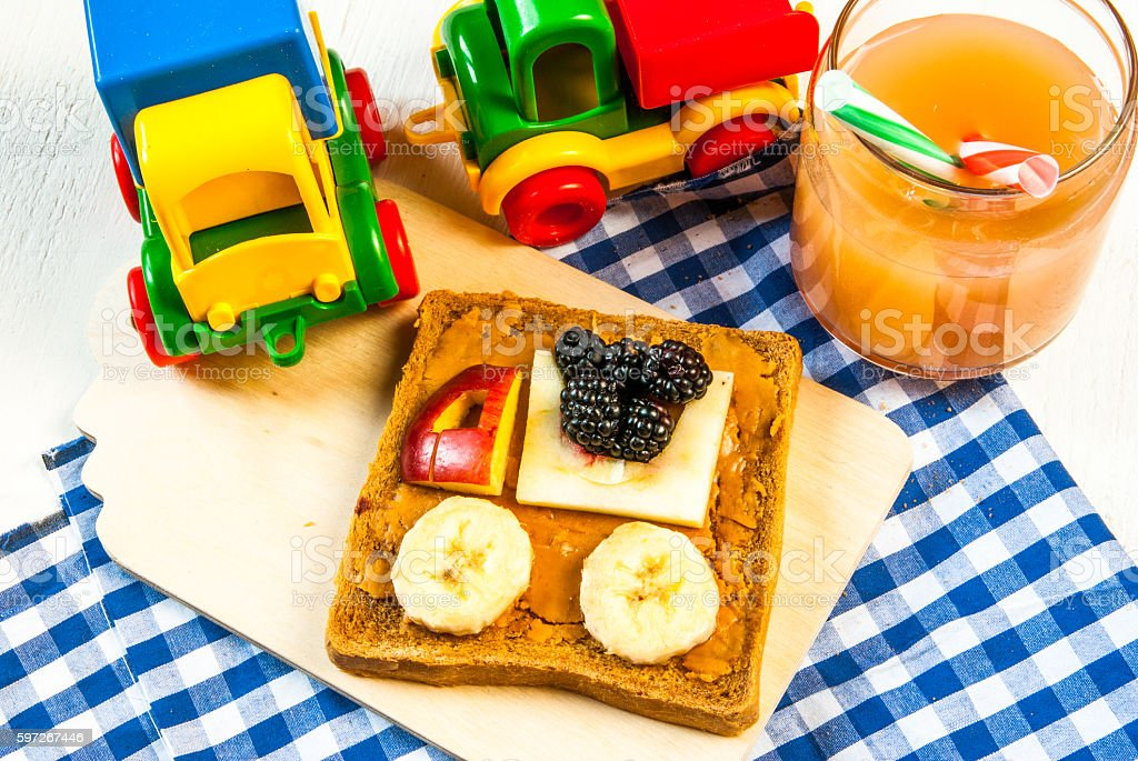 Funny breakfast for kid royalty-free stock photo