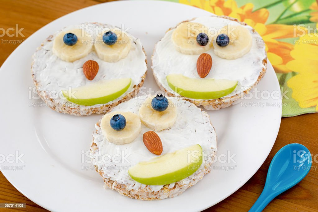 Funny breakfast meal for children stock photo