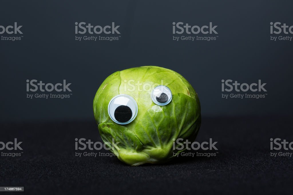 funny brussels sprout with eyes royalty-free stock photo