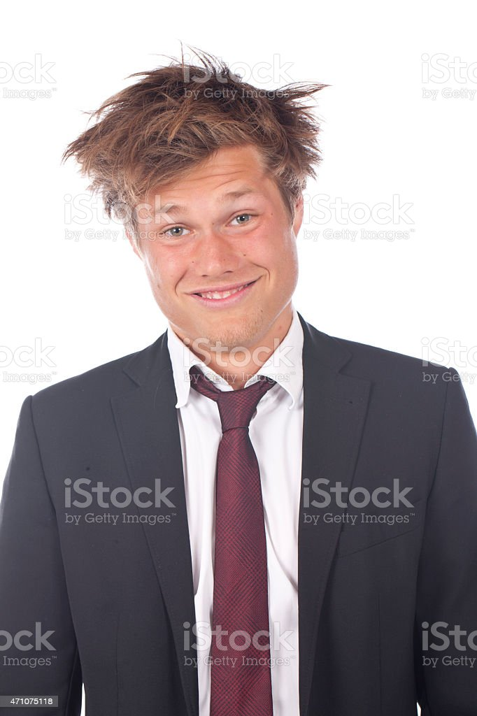 Funny business man with spiky hair stock photo