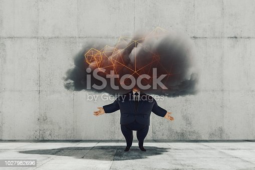 istock Funny businessman character and cloud computing 1027982696