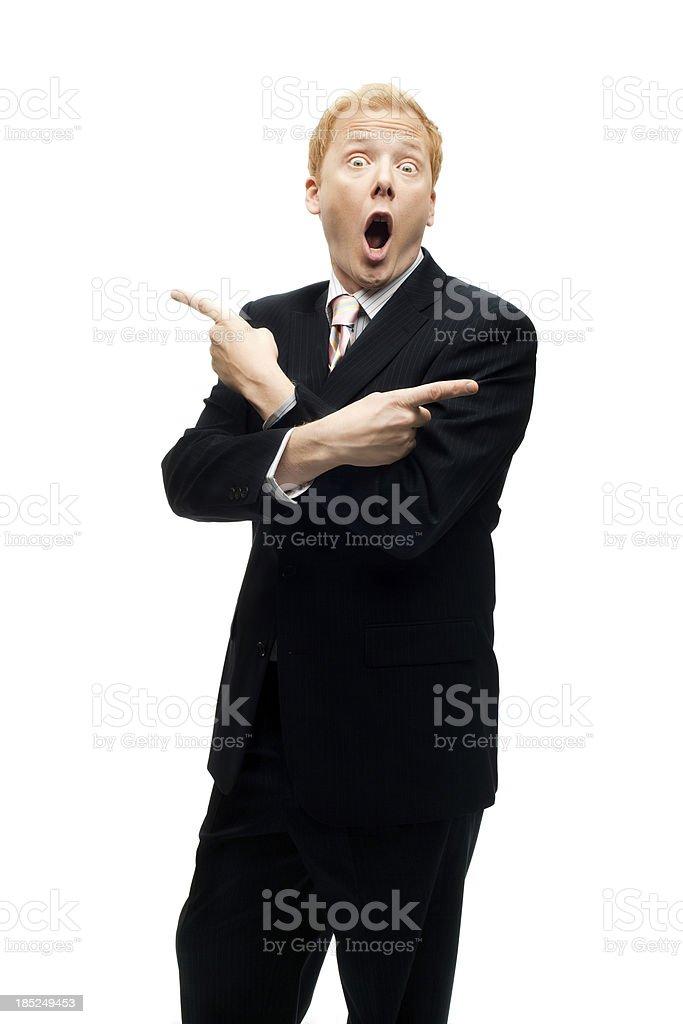 Hombre de negocios Funny proporciona indicaciones sobre Blanco negativo - foto de stock