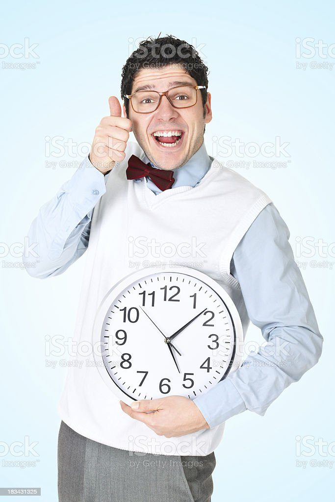 Funny businessman holding his thumb up royalty-free stock photo