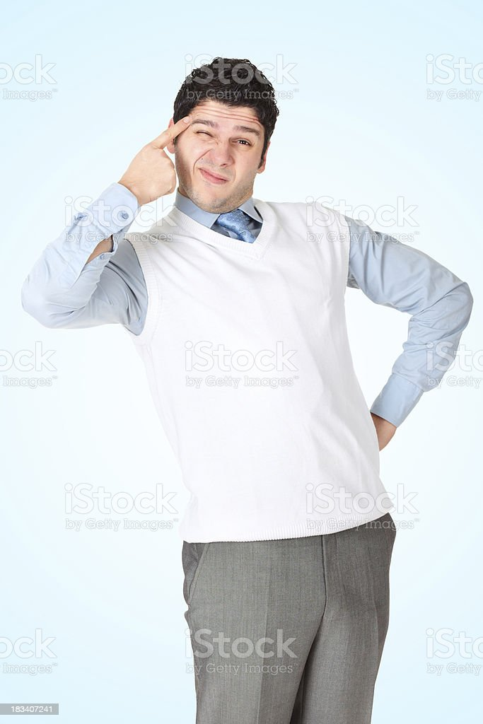 Funny businessman making grimaces stock photo