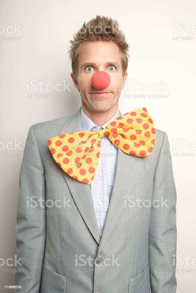 Funny Businessman Office Worker Red Nose Floppy Tie Clown Suit royalty-free stock photo