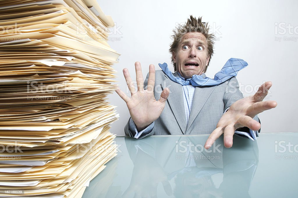 Funny Businessman Office Worker Stresses Out at Inbox royalty-free stock photo