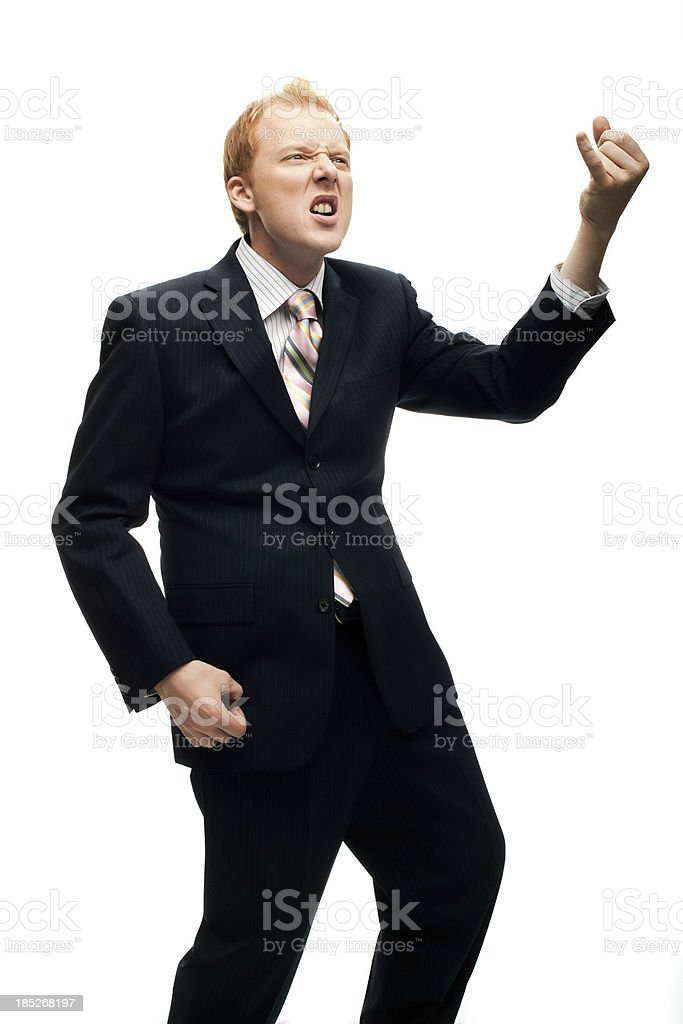 Funny Businessman plays air guitar on White stock photo