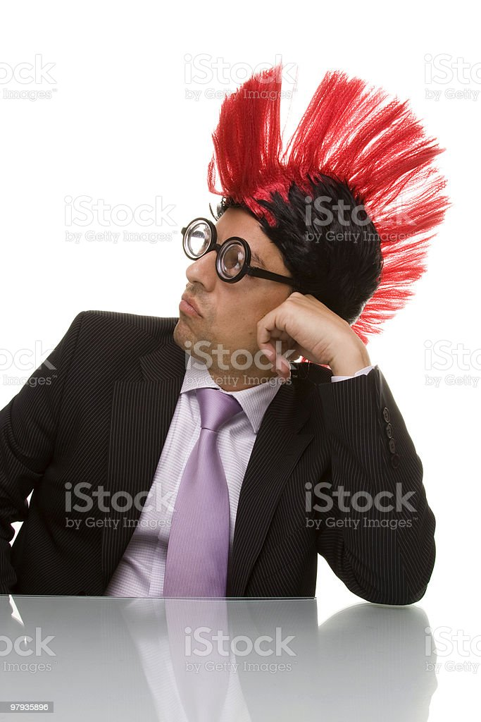 Funny businessman with a bored face royalty-free stock photo