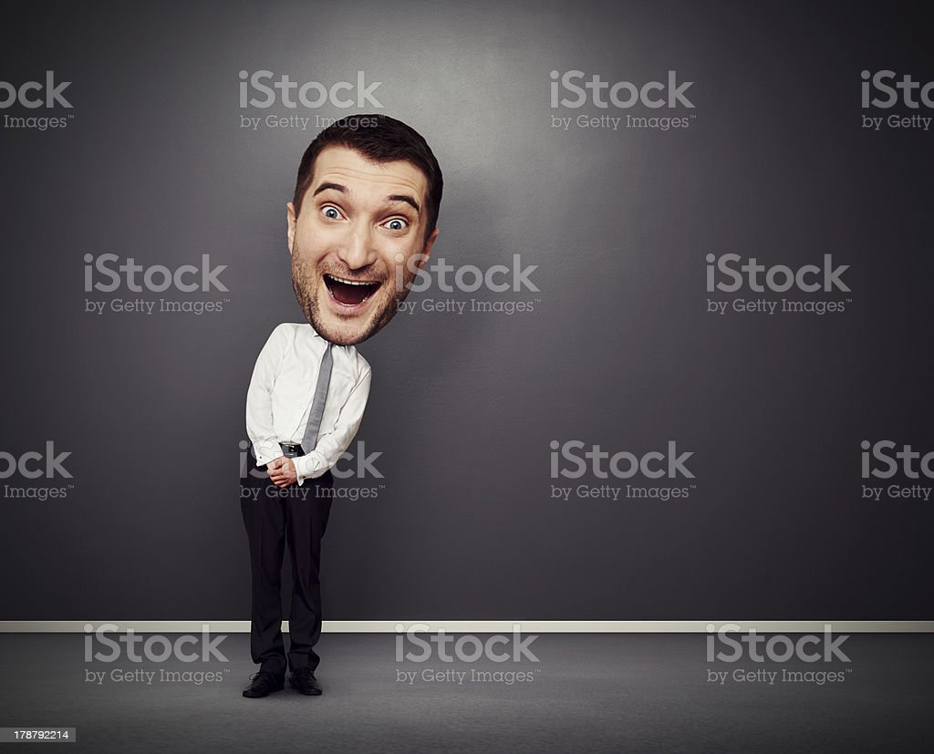 funny businessman with big head stock photo