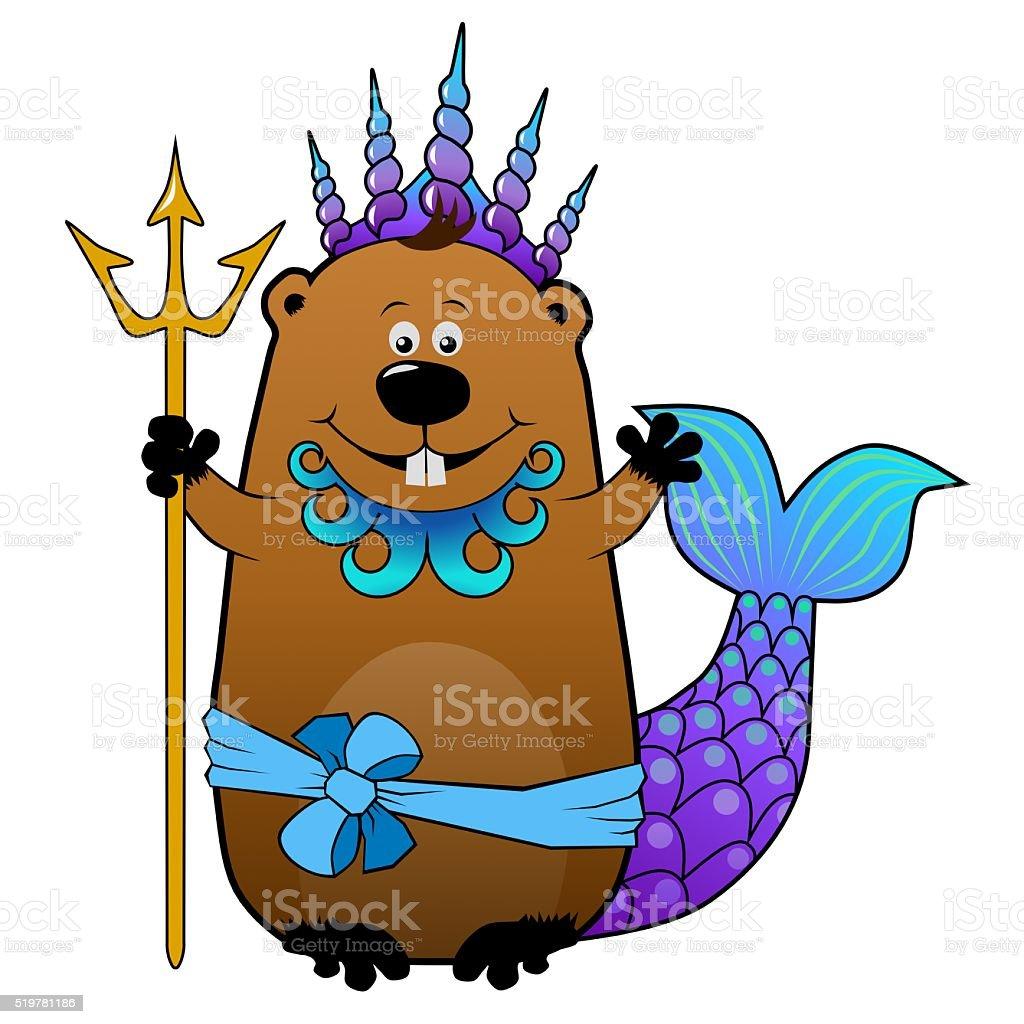 funny cartoon beaver in neptune poseidon carnival costume stock