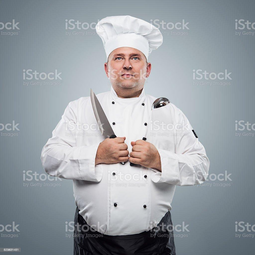 Funny chef portrait stock photo