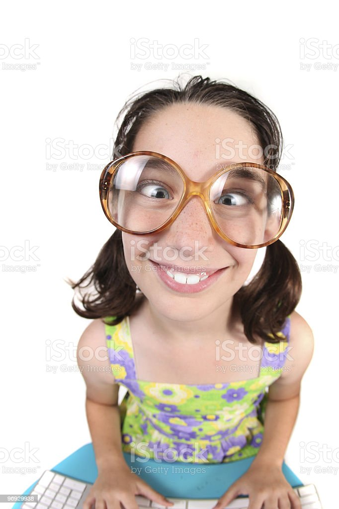 Funny Child Crossing Her Eyes  royalty-free stock photo