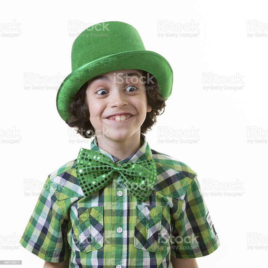 Funny Child during Saint Patrick's Day royalty-free stock photo