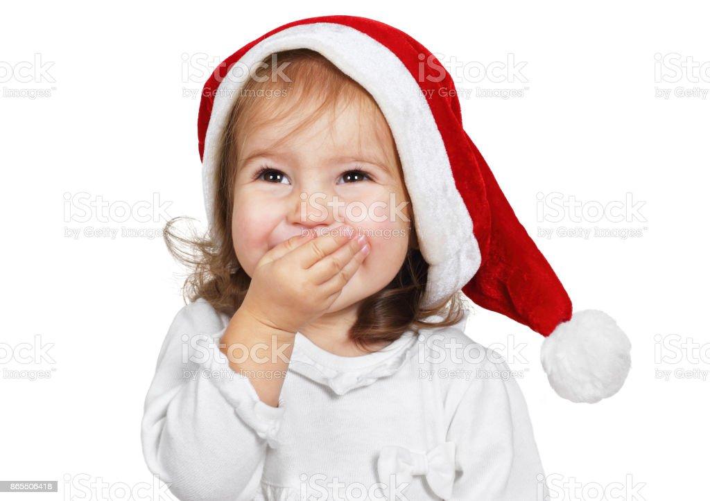 25d4e005b9e Funny Child Laugh Dressed Santa Hat Isolated On White Stock Photo ...
