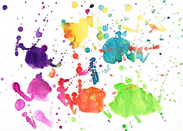 Funny childish watercolor drawing stock photo