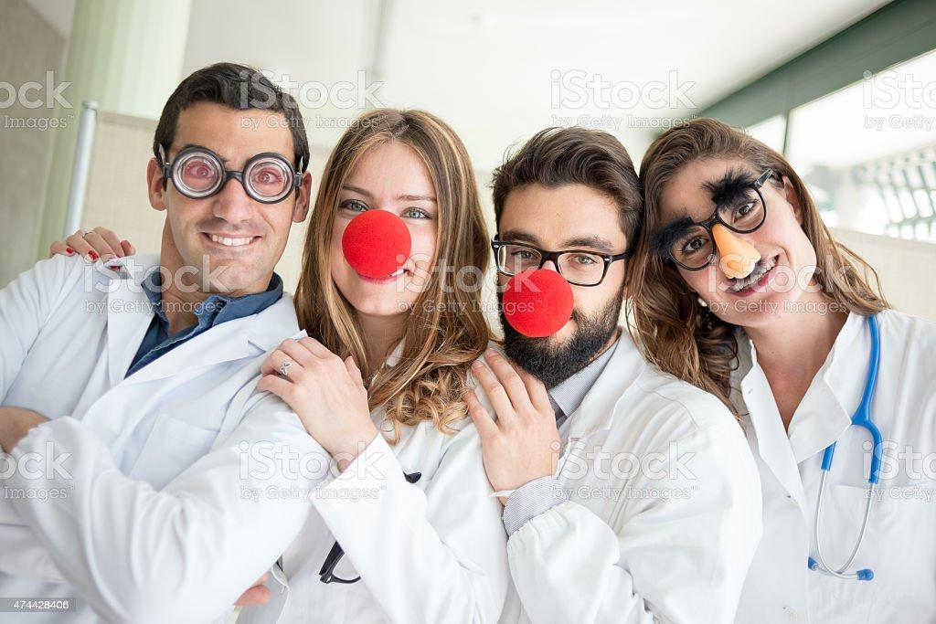 Funny clown doctors pediatricians stock photo