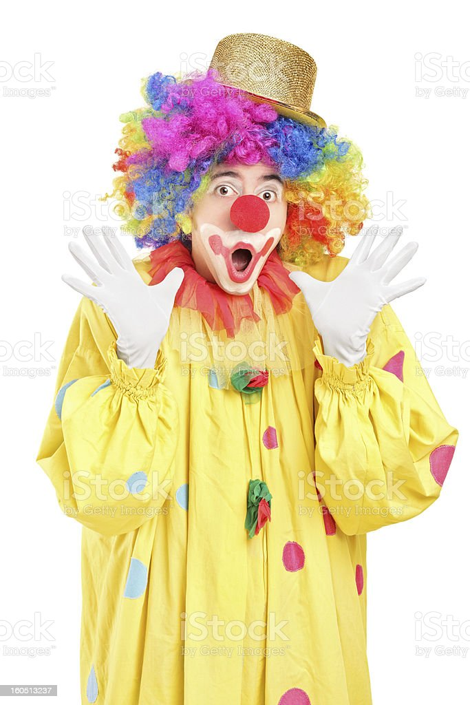 Funny clown gesturing with hands royalty-free stock photo