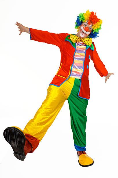 Payaso divertido disfraz de coloridos - foto de stock