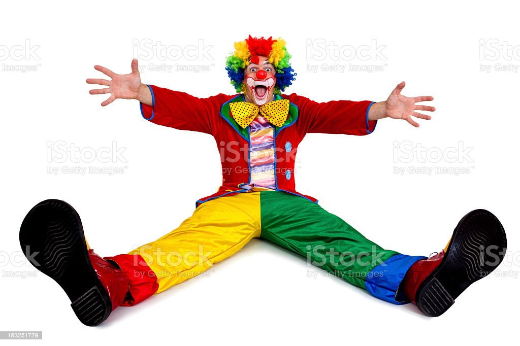 Funny clown sitting with arms and legs outstretched stock photo