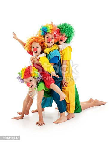istock Funny clowns at the party 496349732