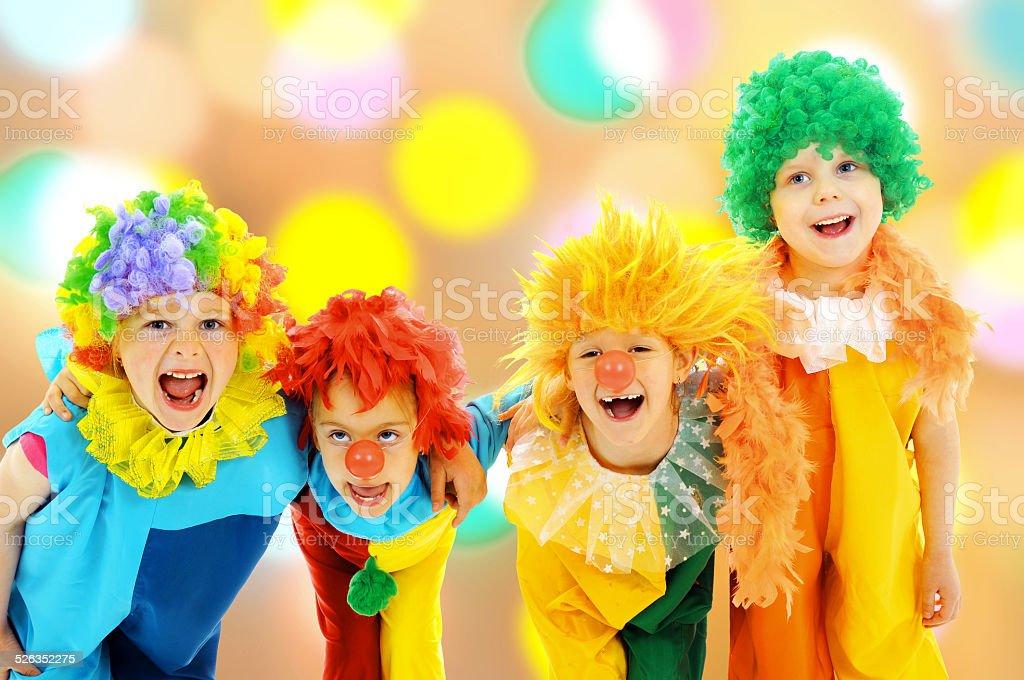 Funny clowns stock photo