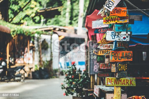 istock Funny colorful signpost to different countries around the world 638151834