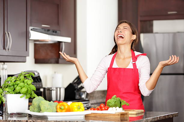 Funny cooking image stock photo